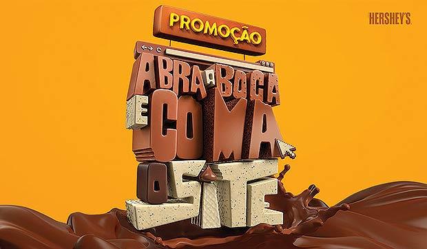 """#EATERNET – """"Abra a boca e coma o site"""", criada pela Aktuellmix para a Hershey´s do Brasil"""